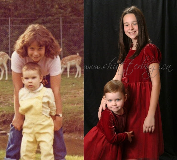 My sister and I sometime in the early eighties, and my two girls at the same age
